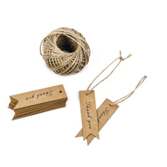 100 PCS Kraft Gift Tags Small Size 7 cm * 2 cm Blank Label Paper Wedding Labels Birthday Luggage Tags Brown Hang Tag with 30 Meters Jute Twine (Thank You) - G2plus