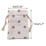 20 PCS Cotton Burlap Drawstring Pouches Gift Bags Wedding Party Favor Jewelry Bags 3.5'' x 4.7'' (Brown Daisy) - G2plus