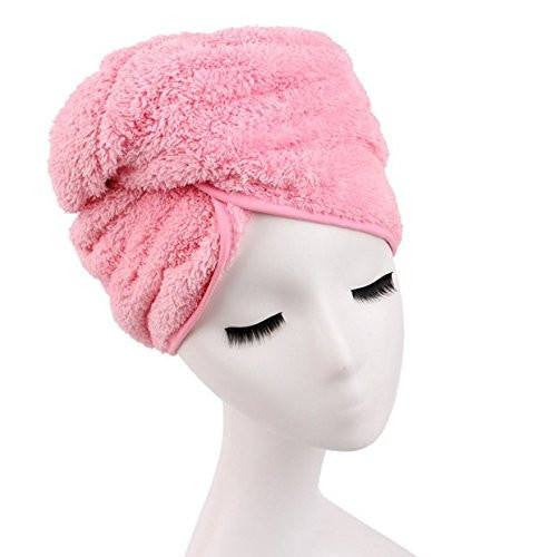 Microfiber Hair Towel for Women, Fast Drying Hair Towel Wrap with Button (Pink) - G2plus
