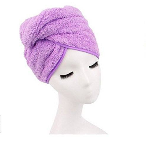 Microfiber Hair Towel for Women, Fast Drying Hair Towel Wrap with Button (Purple) - G2plus