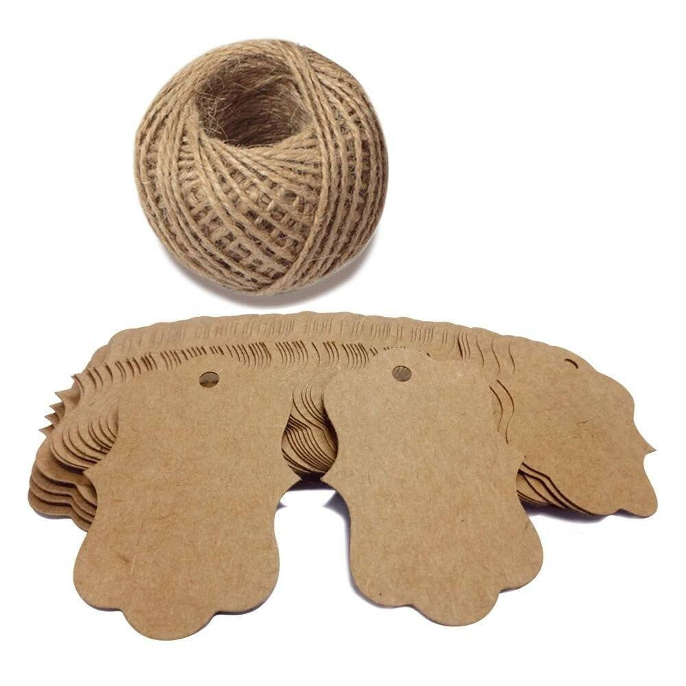 100 PCS Blank Kraft Gift Tags 2.75''x 1.97'' Paper Hang Tags with 100 Feet Jute Twine - G2plus