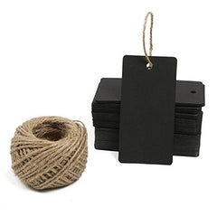 Black Gift Tags, G2PLUS 100 PCS Paper Gift Tag with 100 Feet Jute Twine String, Rectangle Christmas Gift Tags 3.5'' x 1.7'' (Black) - G2plus