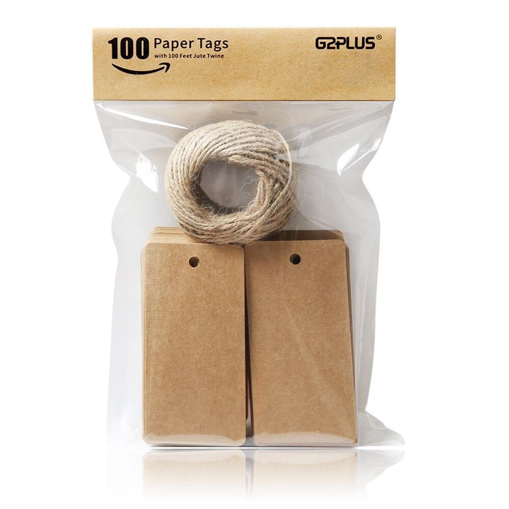 Brown Gift Tags, G2PLUS 100 PCS Kraft Paper Gift Tag with 100 Feet Jute Twine String, Rectangle Christmas Gift Tags 3.5'' x 1.7'' (Brown) - G2plus