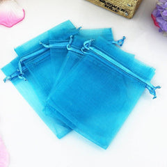 "Organza Bags, G2PLUS 100PCS 10X15CM (4X6"") Drawstring Organza Jewelry Favor Pouches Wedding Party Festival Gift Bags Candy Bags (Lake Blue) - G2plus"