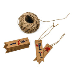 100 PCS Kraft Paper Tags with String Craft Gift Tags Mini Size 7 cm x 2 cm Wedding Brown Hang Tags with 30 Meters Jute Twine (Brown) - G2plus