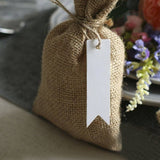 White Gift Tags, G2PLUS 100 PCS Paper Hang Tags with String, Craft Gift Tags, 7 cm x 2 cm Mini Size Flag Tags, Wedding Favor Tags with 30 Meters Jute Twine (White) - G2plus