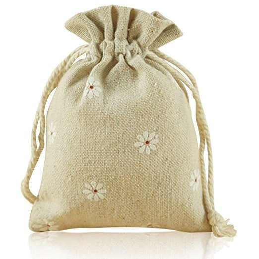 Burlap Bags with Drawstring, G2PLUS 20 PCS Cotton Burlap Drawstring Pouches Christmas Gift Bags Wedding Party Favor Jewelry Bags 3.5'' x 4.7'' (White Daisy) - G2plus