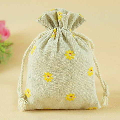 20 PCS Cotton Burlap Drawstring Pouches Gift Bags Wedding Party Favor Jewelry Bags 3.5'' x 4.7'' (Yellow Daisy) - G2plus