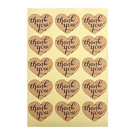 Thank You Stickers, G2PLUS Kraft Paper Thank You Label Stickers for Favors, Hang Tags, Gift Packaging (10 Sheets- Pack of 150 PCS Heart Shape Stickers) - G2plus