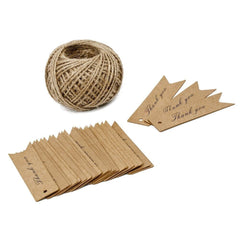 Thank You Tags, G2PLUS 100 PCS 'Thank you' Printed Christmas Tags, Kraft Hang Tags for Wedding Favors Paper Gift Tags with 100 Feet Jute Twine, Mini Tags with String (Brown) - G2plus