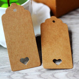 Brown Gift Tags, G2PLUS 100 PCS Kraft Paper Gift Tags Hollow Heart Wedding Favor Tags 4cm x 9cm with 100 Feet Jute Twine (Brown) - G2plus