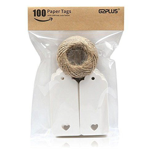 100 PCS Kraft Paper Gift Tags Hollow Heart Wedding Favor Tags 4cm x 9cm with 100 Feet Jute Twine(White) - G2plus