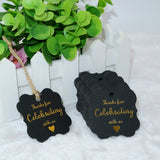 High-end Carbon Gold Thanks for Celebrating with Us Gift Tags with 100 Feet Natural String for Baby Shower, Bridal Wedding, Anniversary Celebration - G2plus