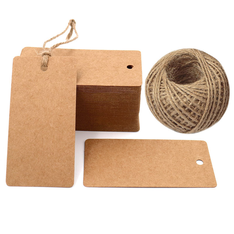 G2PLUS Gift Kraft Paper Tags 100 PCS Luggage Tags Labels 4.5 cm * 9 cm Labels with 30 Meters Jute Twine (Brown) - G2plus