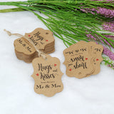 Original Design 100PCS Hug & Kisses from The New Mr & Mrs Gift Tags, Wedding Favor Gift Tags with 100 Feet Natural Jute Twine Perfect for Bridal Baby Shower Anniversary Decoration (Brown) - G2plus