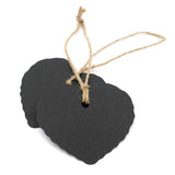 Valentine's Day Kraft Gift Tags 100 PCS Blank Label 5.5 cm * 6 cm Paper Wedding Labels Brown Hang Tag with 30 Meters Jute Twine - Heart-Shaped (Black) - G2plus