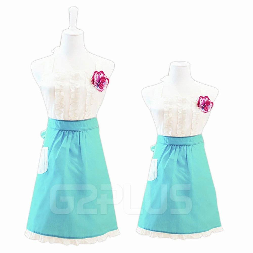 Lovely Classic Style Women's Cooking Apron Kitchen Apron Baking Apron with Pocket Great Gift For Wife Kid Girls Daughters Ladies Macara Dragon White&Blue (Mama-Child Set) - G2plus