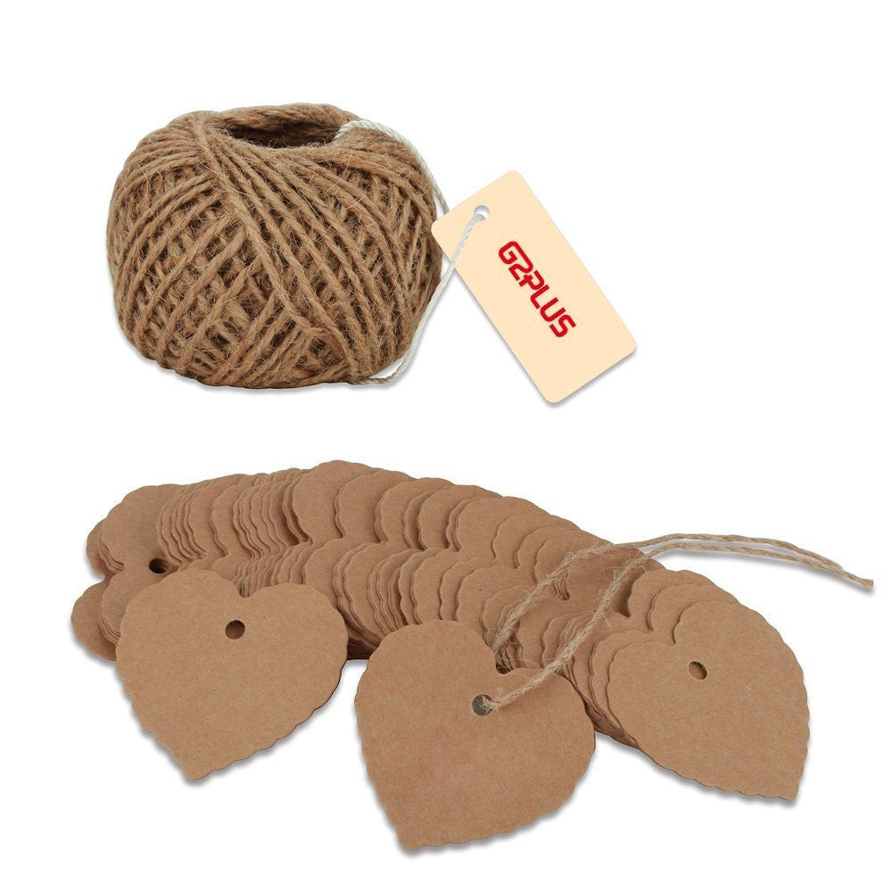 Brown Gift Tags, G2PLUS 100PCS Kraft Paper Gift Tags Wedding Favor Kraft Hang Tag Bonbonniere Favor Gift Tags with Jute Twine 30 Meters Long for DIY Crafts & Price Tags (Heart Shape-Brown) - G2plus