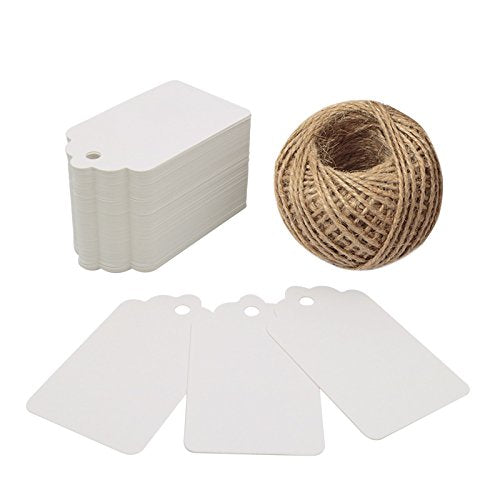 White Gift Tags,100PCS Paper Tags with 100 Feet Jute String for Arts and Crafts, Wedding Christmas Day Thanksgiving,7 cm X 4 cm - G2plus