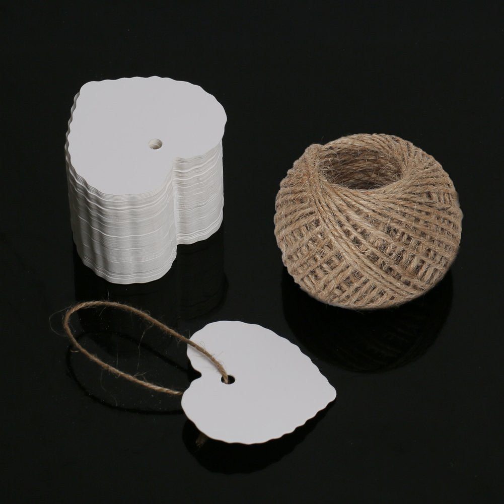 100PCS Kraft Paper Gift Tags Wedding Brown Kraft Hang Tag Bonbonniere Favor Gift Tag with Jute Twine 30 Meters Long for DIY Crafts & Price Tags (Heart Shape-White) - G2plus