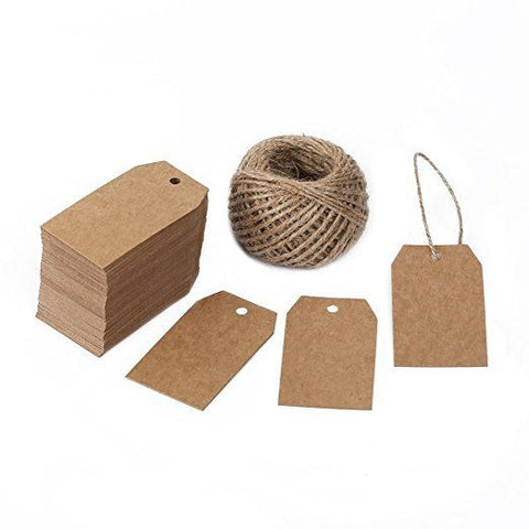 100 PCS Kraft Gift Tags 2.7''x 1.5'' Brown Craft Tags with String Blank Hang Tags with 100 Feet Jute Twine - G2plus