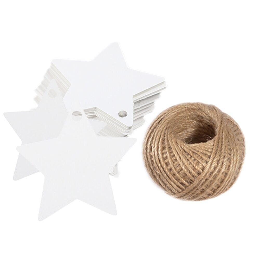 Star Gift Tags, G2PLUS 100 PCS Star Hang Tags with String, White Blank Gift Tag with 100 Feet Natural Jute Twine (White) - G2plus