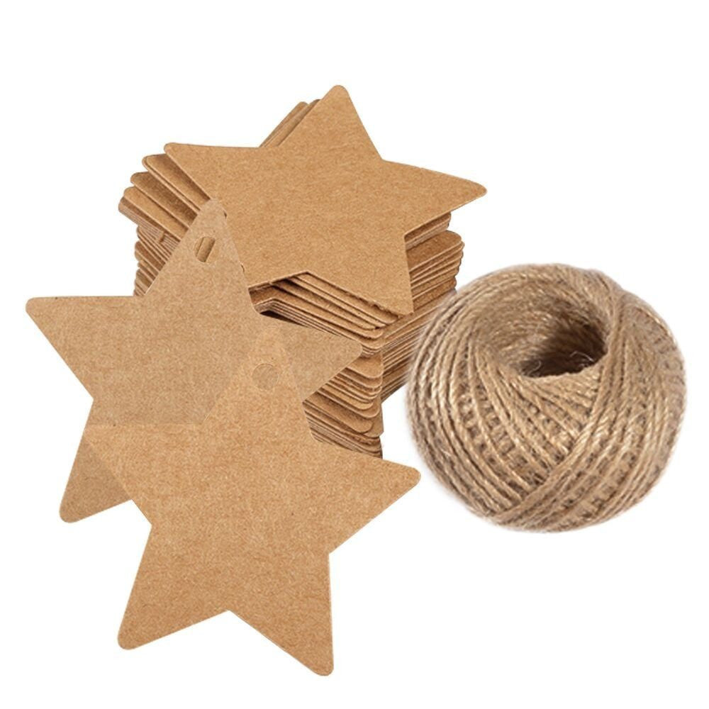 100 PCS Star Hang Tags with String, Kraft Blank Gift tag with 100 Feet Natural Jute Twine (Brown) - G2plus