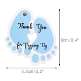 Original Design Thank You for Popping By,100 PCS Cute Baby Feet Thank You Tags with 100 Feet Natural Jute Twine Perfect for Baby Shower Favor (Blue) - G2plus