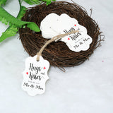Original Design 100PCS Hug & Kisses from The New Mr & Mrs Gift Tags, Wedding Favor Gift Tags with 100 Feet Natural Jute Twine Perfect for Bridal Baby Shower Anniversary Decoration (White) - G2plus