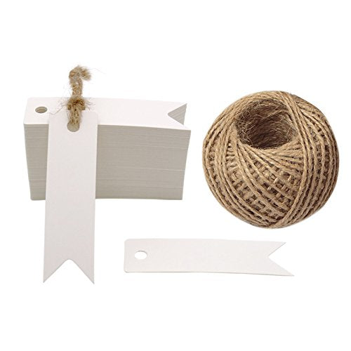 100 PCS Gift Tags Small Size 7 cm * 2 cm Blank Label Paper Wedding Labels Birthday Luggage Tags Brown Hang Tag with 30 Meters Jute Twine (White) - G2plus
