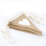 G2PLUS Love Heart Lace Jute banner, 10 Feet Vintage Flag Bunting with 12 Triangle Pennants, Lovely Cloth Shabby Chic Decoration for Birthday Rustic Wedding Parties Bedrooms - G2plus