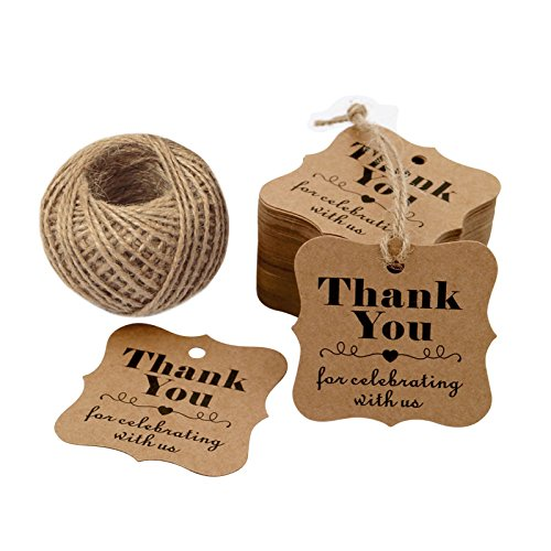 Original Design Paper Gift Tags, 100PCS Thank You for Celebrating with US, Square Thanks Label for Baby Shower, Bridal Wedding, Anniversary Celebration (Brown) - G2plus