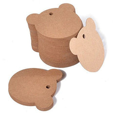 100 PCS Kraft Gift Tags Bear Shaped Brown Favor Tags with 100 Feet Jute Twine - G2plus