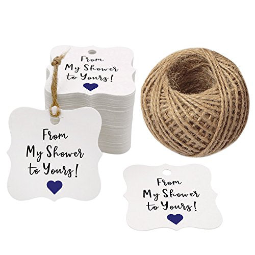 Original Design 100PCS Baby Shower Favor Tags,From My Shower To Yours Tags ! Paper Gift Tags Kraft Hang Tags with 100 Feet Natural Jute Twine - G2plus