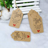 Original Design Thank You for Celebrating with Us Tags,100PCS 7cm X 4cm Paper Gift Tags with 100 Feet Natural Jute Twine Kraft Hang Tag for Wedding Party Favors, Baby Shower Decorations (Brown) - G2plus