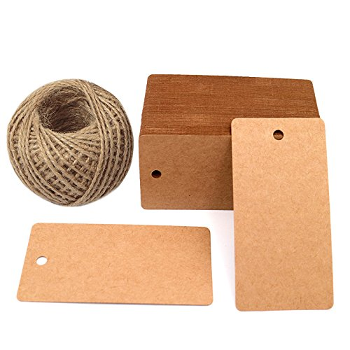 "Father's Gift Tags, 3.5"" x 1.7"" Brown Gift Tags 100 PCS Kraft Paper Gift Tag with 100 Feet Jute Twine String for Arts and Crafts, Wedding Christmas Day - G2plus"