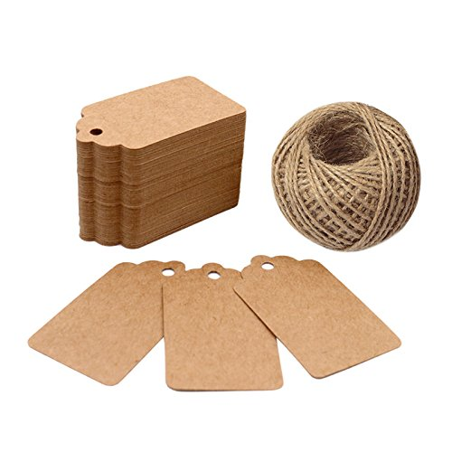 Price Tags, Kraft Paper Gift Tags 100 PCS Paper Tags with 100 Feet Jute String for Arts and Crafts, Wedding Christmas Day Thanksgiving,7 cm X 4 cm - G2plus