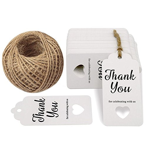 Thank You for Celebrating with Us,Original Design Paper Gift Tags,100 PCS Kraft Paper Tags Price Tags with 100 Feet Natural Jute Twine - G2plus