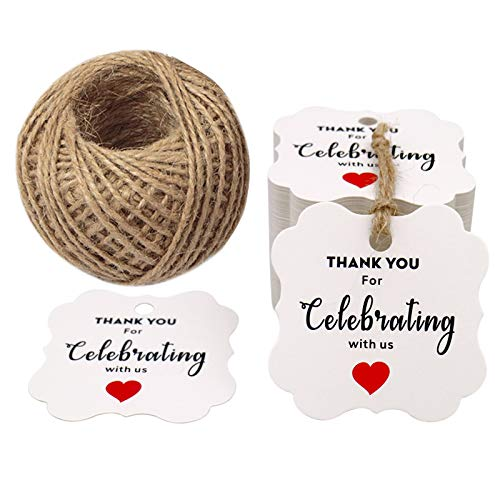 Thank You for Celebrating with US,Original Design 100PCS Paper Gift Tags Square Thanks Label with Red Hearts for Baby Shower, Bridal Wedding, Anniversary Celebration  Product ID:  723260887852 - G2plus