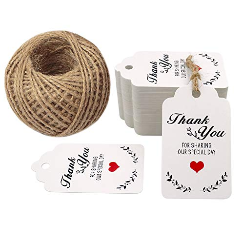 Original Design Thank You for Sharing Our Special Day Tags,100PCS Wedding Favor Gift Tags, 7cm X 4cm Paper Tags Craft Hang Tags with 100 Feet Twine for DIY & Gift Wrapping - G2plus