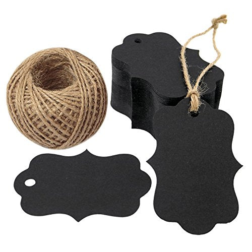 100 PCS Black Paper Gift Tags with String, 2.75''x 1.97'' Kraft Hang Tags with 100 Feet Jute Twine (Black) - G2plus
