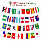 2018 FIFA World Cup Flags,Russia Soccer Football Flag,Extra Large Size 32 Country Flag Bunting 8''x 12'' for Bar Party,Fans,Sport Clubs Decorations - G2plus