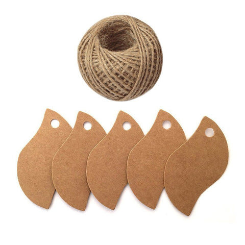 100 PCS Kraft Gift Tags Leaf Shaped Brown Favor Tags with 100 Feet Jute Twine - G2plus