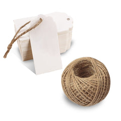 100 PCS Paper Gift Tags with String Wedding Rectangle Hang Tags Bonbonniere Favor Gift Tags Price Tags Labels with 30 Meters Jute Twine for Crafts (White) - G2plus