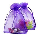 Organza Gift Bags with Drawstring 5'' x 7'', G2PLUS 100 PCS Organza Jewelry Bags, Sheer Drawstring Gift Pouches for Christmas Wedding Party Favors (Purple) - G2plus