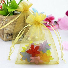Organza Gift Bags with Drawstring 5'' x 7'', G2PLUS 100 PCS Organza Jewelry Bags, Sheer Drawstring Gift Pouches for Christmas Wedding Party Favors (Golden Yellow) - G2plus