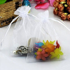Organza Gift Bags with Drawstring 5'' x 7'', G2PLUS 100 PCS Organza Jewelry Bags, Sheer Drawstring Gift Pouches for Christmas Wedding Party Favors (White) - G2plus