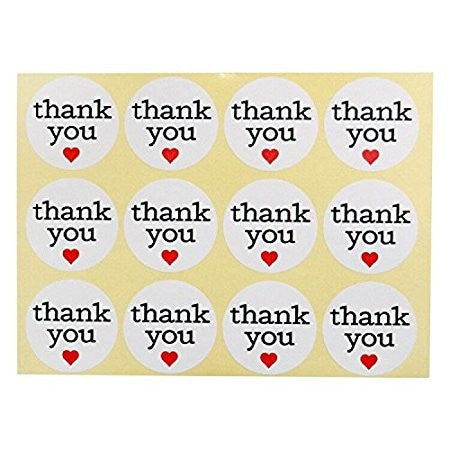 Thank You Stickers, G2PLUS White Kraft Paper Labels with Red Hearts for Tags, Baking, DIY Gift Packing (Pack of 120 Pcs) - G2plus