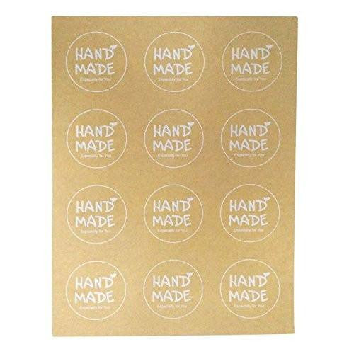 Handmade Stickers, G2PLUS Handmade Especially for You Kraft Paper Sticker Labels for Soap, Baking, DIY Gift Packaging (10 Sheets x 12 PCS) - G2plus