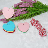 Mother's Day Heart Shaped Kraft Gift Tags, 100 PCS Blank Labels, 5CM * 5CM Paper Wedding Hang Tag with 30 Meters Jute Twine (Multi-Colored) - G2plus